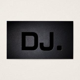 DJ Bold Text Cool Black Modern Business Card