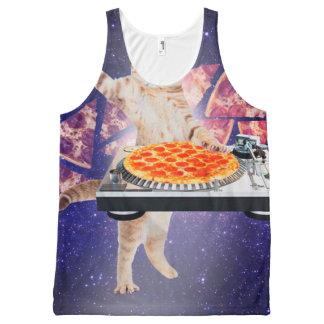 dj cat - cat dj - space cat - cat pizza All-Over print singlet
