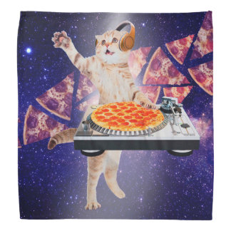 dj cat - cat dj - space cat - cat pizza bandana