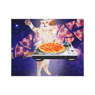 dj cat - cat dj - space cat - cat pizza canvas print