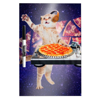 dj cat - cat dj - space cat - cat pizza dry erase board