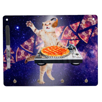 dj cat - cat dj - space cat - cat pizza dry erase board with key ring holder
