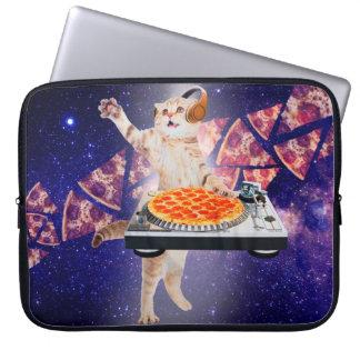 dj cat - cat dj - space cat - cat pizza laptop sleeve