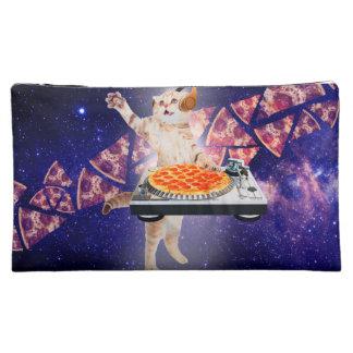 dj cat - cat dj - space cat - cat pizza makeup bag