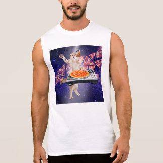 dj cat - cat dj - space cat - cat pizza sleeveless shirt