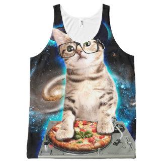 dj cat - space cat - cat pizza - cute cats All-Over print singlet