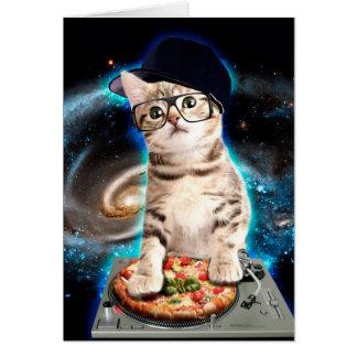 dj cat - space cat - cat pizza - cute cats card
