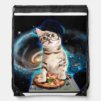 dj cat - space cat - cat pizza - cute cats drawstring bag