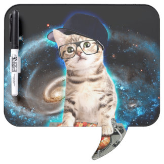 dj cat - space cat - cat pizza - cute cats dry erase board