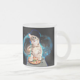 dj cat - space cat - cat pizza - cute cats frosted glass coffee mug