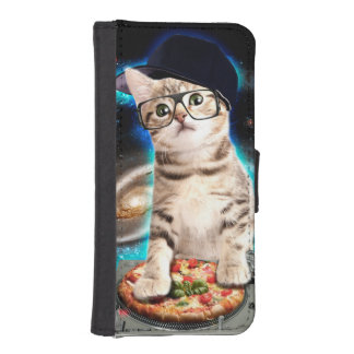 dj cat - space cat - cat pizza - cute cats iPhone SE/5/5s wallet case