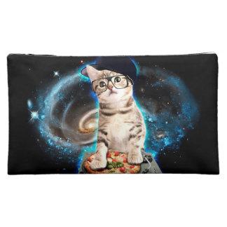 dj cat - space cat - cat pizza - cute cats makeup bag