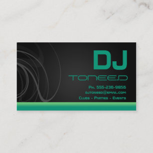 Emerald green business cards zazzle au dj disc jockey emerald green business cards reheart Gallery