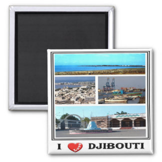DJ - Djibouti - I Love - Collage Mosaic Magnet
