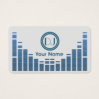 Dj equalizer music play blue shaded business card