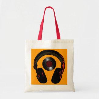dj headphone and vinyl record music budget tote bag