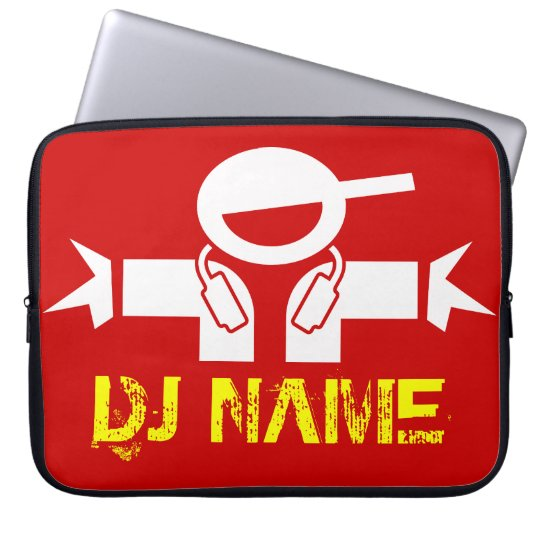 DJ laptop sleeve with custom deejay name