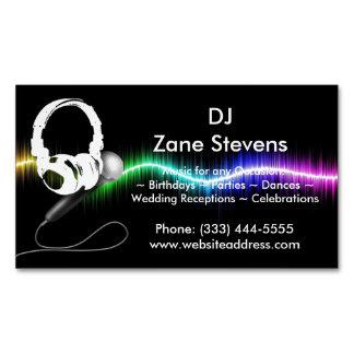 DJ Microphone Headphones Business Card Magnet