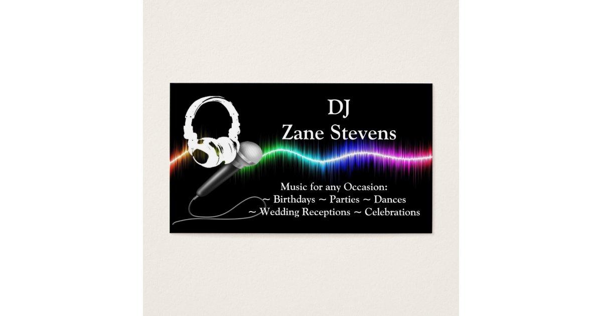 dj microphone headphones business card template zazzle. Black Bedroom Furniture Sets. Home Design Ideas