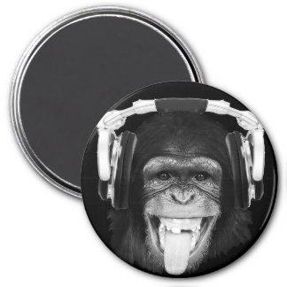 DJ Monkey 7.5 Cm Round Magnet