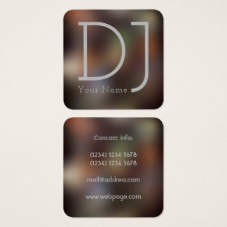 Dj night clubbing style square business card