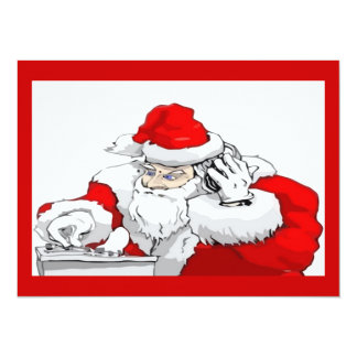 DJ Santa Claus Mixing The Christmas Party Track 14 Cm X 19 Cm Invitation Card