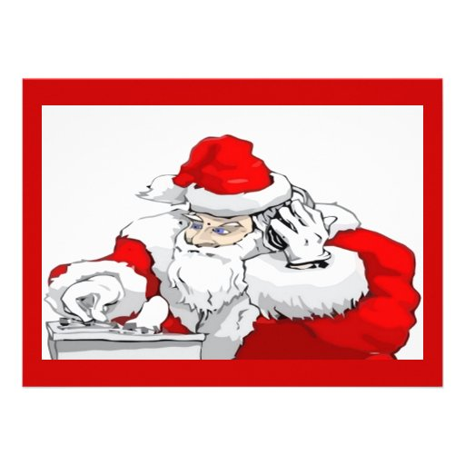 DJ Santa Claus Mixing The Christmas Party Track Personalized Invitations