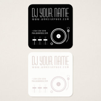 DJ set musical template cover Square Business Card