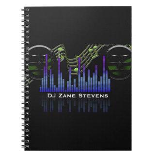 DJ Speakers, Music Staff, Notes Sound Bar Spiral Notebook
