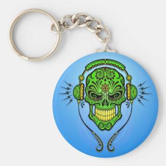 DJ Sugar Skull – Green and Blue Key Ring