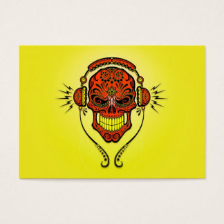 DJ Sugar Skull, red and yellow Business Card
