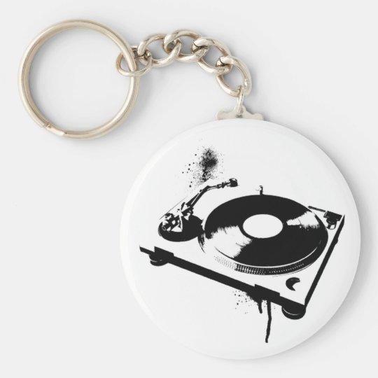 DJ Turntable Basic Round Button Key Ring