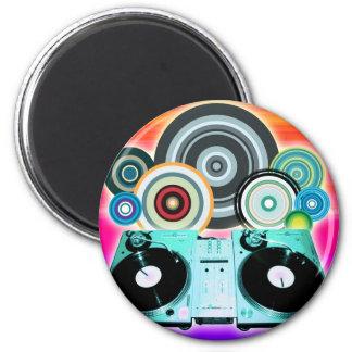 DJ Turntable Circles 6 Cm Round Magnet