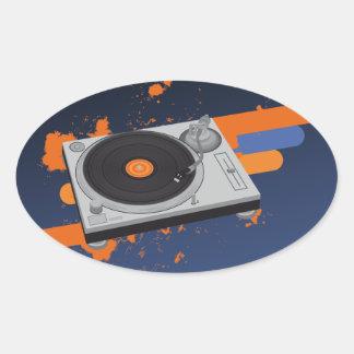 DJ Turntable Oval Sticker