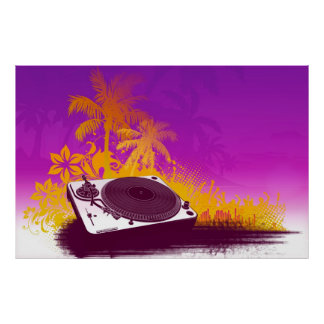 DJ Turntable Paradise Poster - deck summer beach