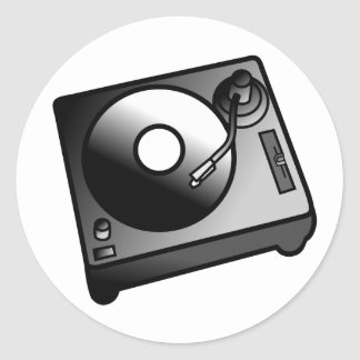 DJ Turntable Record Player Digital Art Graphics Round Sticker