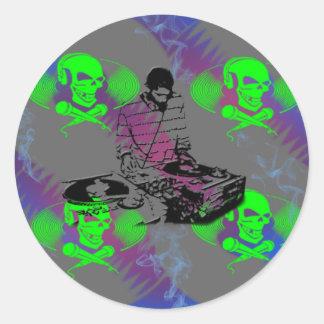 DJ Vinyl Spinner Classic Round Sticker