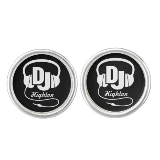 DJ white and black headphones cufflinks