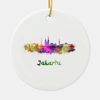 Djakarta skyline in watercolor round ceramic decoration