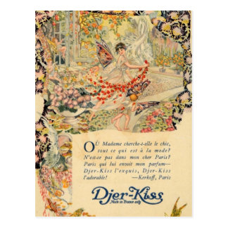 Djer Kiss French Perfume Label Postcard