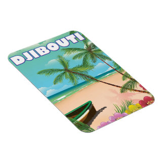 Djibouti Beach travel poster Magnet
