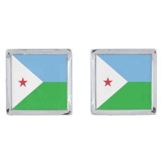 Djibouti Flag Silver Finish Cufflinks