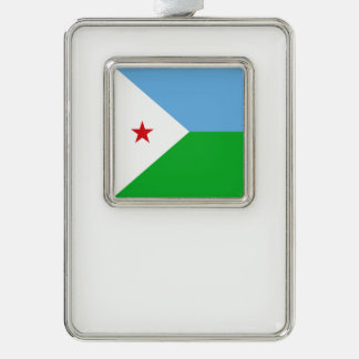 Djibouti Flag Silver Plated Framed Ornament