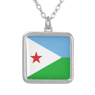 Djibouti Flag Silver Plated Necklace