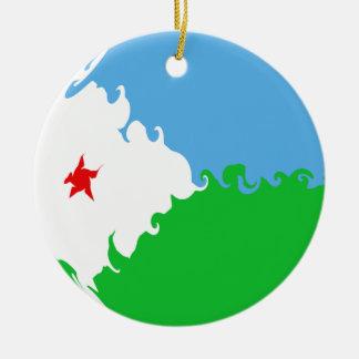 Djibouti Gnarly Flag Christmas Ornament