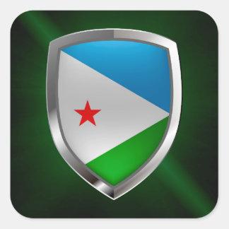 Djibouti Mettalic Emblem Square Sticker