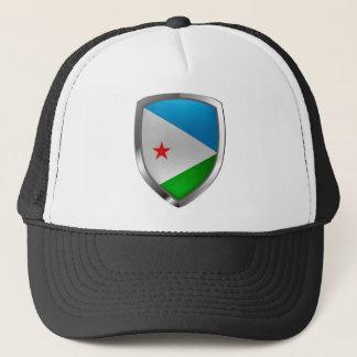 Djibouti Mettalic Emblem Trucker Hat