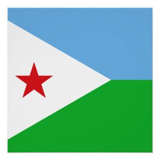 Djibouti National World Flag Poster