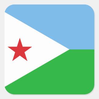 Djibouti National World Flag Square Sticker
