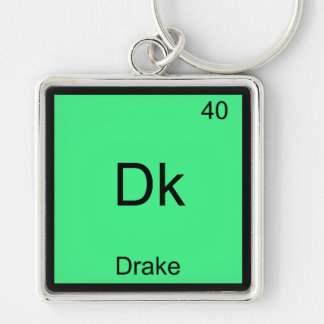 Dk - Drake Funny Chemistry Element Symbol T-Shirt Silver-Colored Square Key Ring